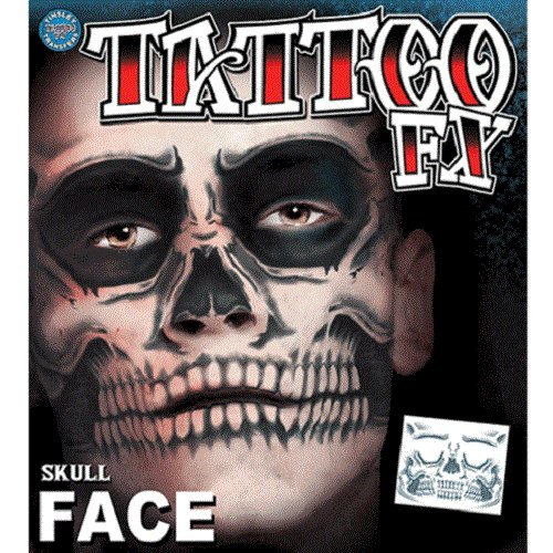 Christien Tinsley Transfers Skull Face Halloween Tattoo Costume Makeup TT-CT411 ()
