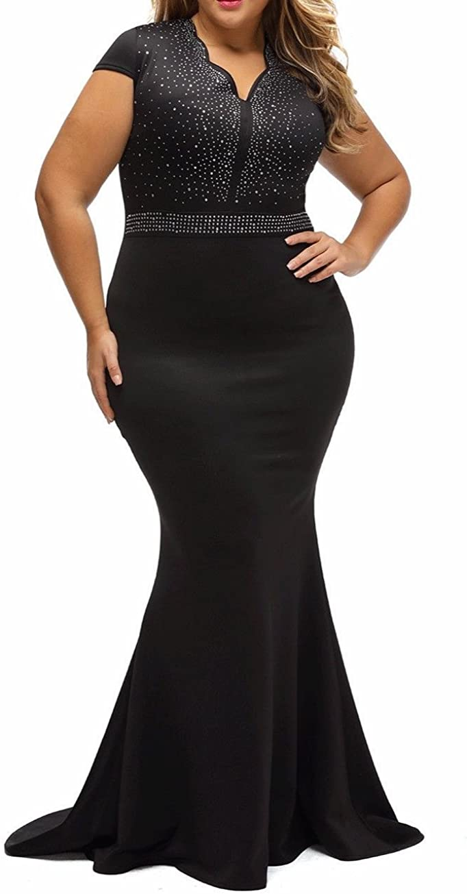 8830 - Plus Size Mermaid Rhinestone Front Bodice Scalloped Neckline Maxi  Dress