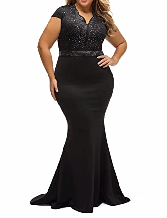 8830 - Plus Size Mermaid Rhinestone Front Bodice Scalloped Neckline ...