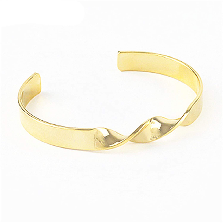 minimalist twist burnished gold silver metal bracelet lady bracelets fine bracele,Platinum Plated by Rankei bracelets (Image #2)