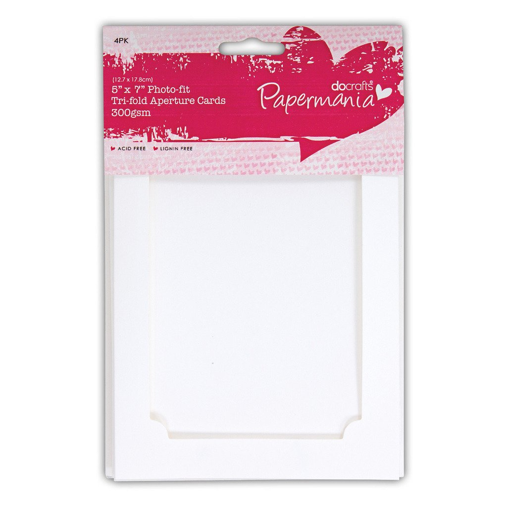 5x7 Photo Fit White Tri Fold Aperture Frame Card Blanks Envelopes
