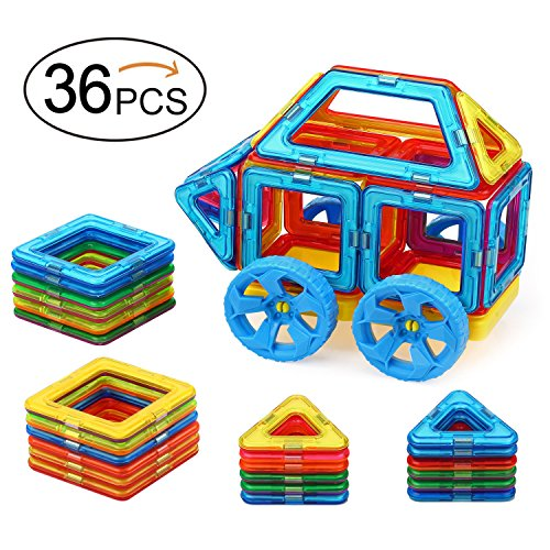 Quadpro-36-Piece-Magnet-Tiles-Magnetic-Building-Blocks-for-Kids-Standard-Set-with-Wheel