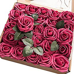 Ling's moment Artificial Flowers Fuchsia/Deep Pink Roses 50pcs Real Looking Fake Roses w/Stem for DIY Wedding Bouquets Centerpieces Arrangements Party Baby Shower Home Decorations