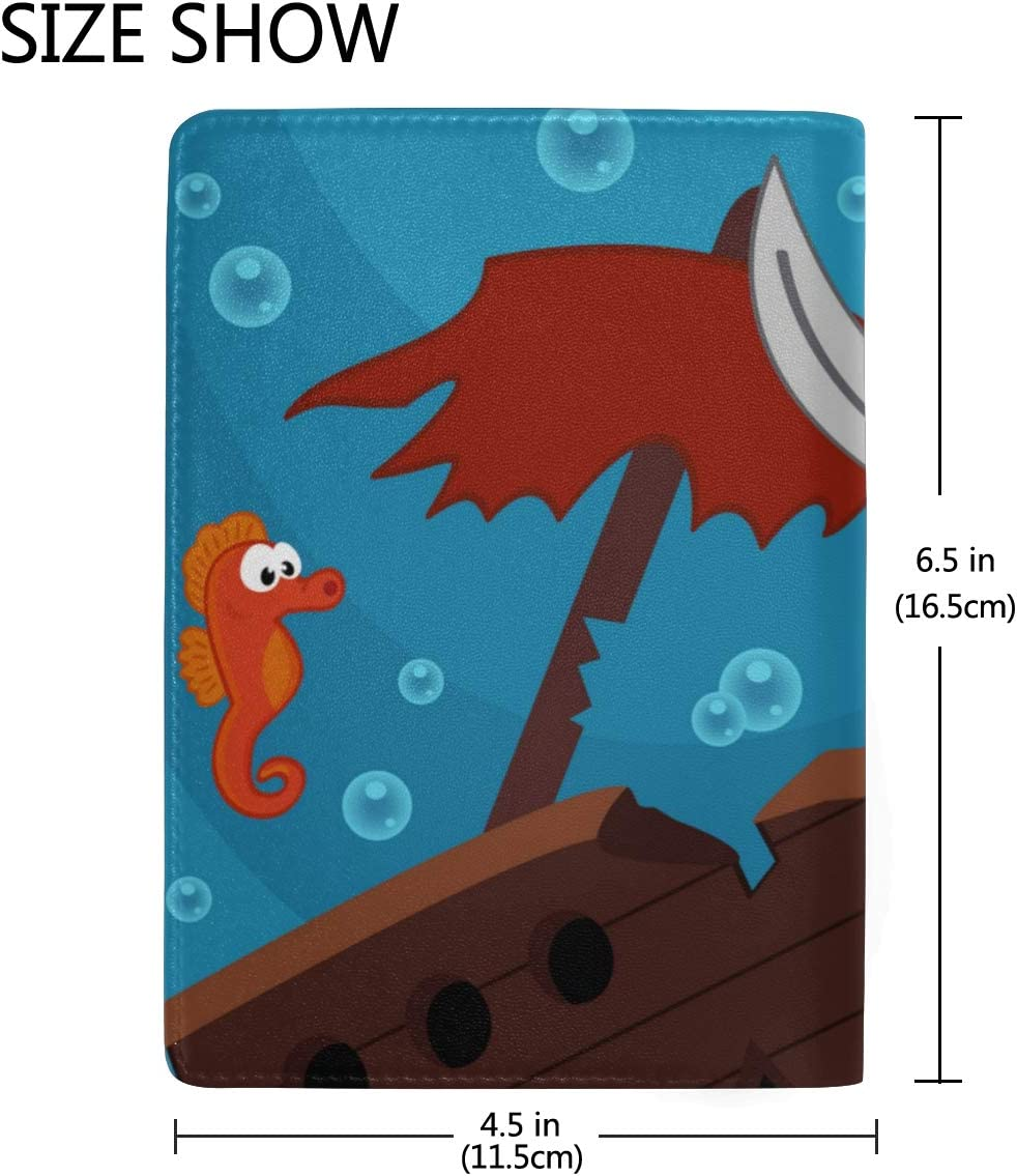 Cartoon Pirate Shark With Shipwreck Blocking Print Passport Holder Cover Case Travel Luggage Passport Wallet Card Holder Made With Leather For Men Women Kids Family
