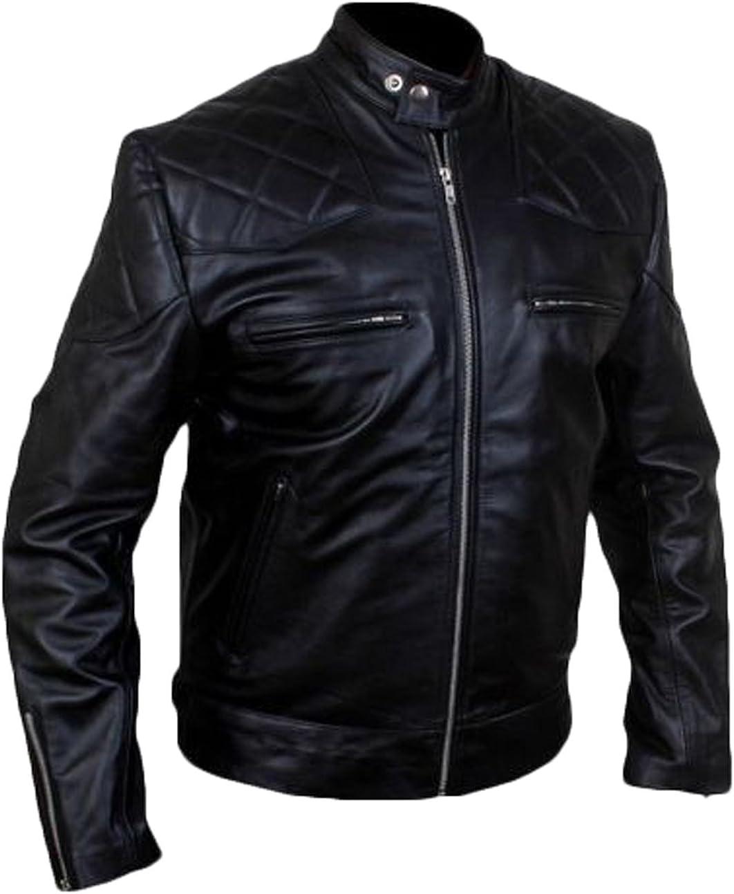 Men Leather Jacket New Soft Lambskin Slim Biker Bomber Coat T1363