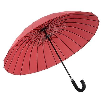 ZHUSAN Paraguas Sombrilla con 24 Costillas Protección Solar Negocio Extra Grande Mango Largo Refuerzo A Prueba