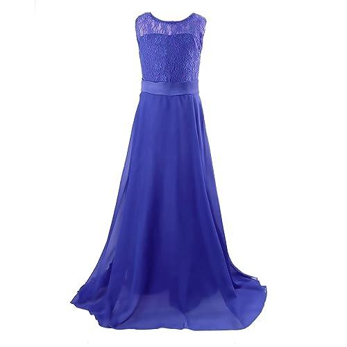 Acecharming Long Junior Bridesmaid Dress Big Girls Elegant Formal Flower Chiffon Maxi Dress Wedding Party Dance