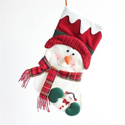 Yiuswoy hecho a mano peluche personalizada calcetín para colgar de Navidad calcetines bolsa de regalo para