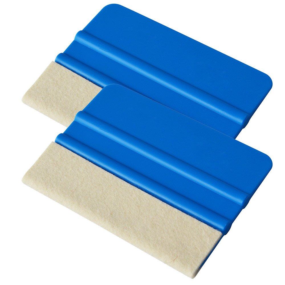 Ehdis® [2PCS] di alta qualità in feltro Bordo seccatoio 4 pollici per l'automobile vinile ruspa pellicola della tinta della decalcomania applicatore strumento con feltro di lana Edge - Blu morbida PP raschietto