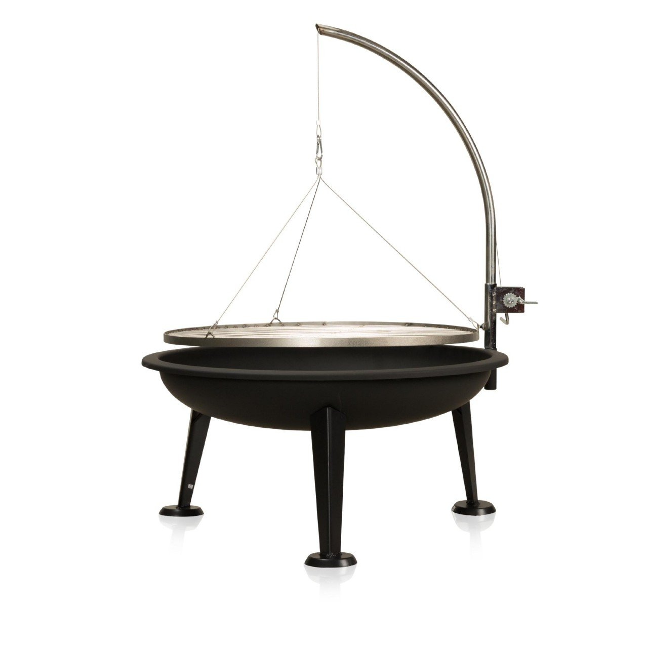 Fire bowl 80 cm, Camelot tripod swivel barbecue with cable and stainless steel cooking grate, 120 x 64 x 74 cm ambico Fire bowl 80 cm 120 x 64 x 74 cm