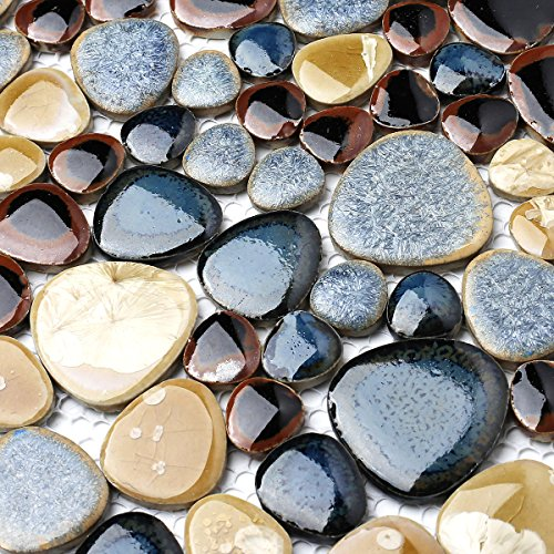 Ceramic Mosaic Wall - Glazed Blue Mosaic Ceramic Pebble Porcelain Tile Swimming Pool Bath Shower Wall Flooring Tile TSTGPT001 (4 x 6 Inches Sample)