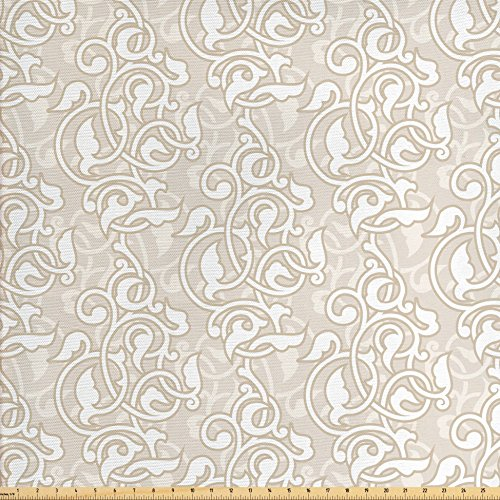 Lunarable Cream Fabric by The Yard, Oriental Arabesque Motifs with Antique Damask Inspired Design Retro Revival Swirls, Decorative Fabric for Upholstery and Home Accents, Beige White