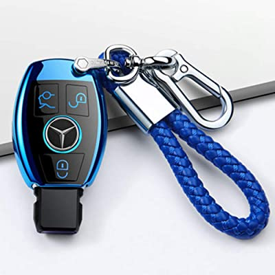 Longzheyu for Mercedes Benz Key Fob Cover, Premium Soft TPU Key Case Cover Compatible with Mercedes Benz C E S M CLS CLK G Class Keyless Smart Key Fob(Blue): Automotive