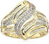 10K Yellow Gold Swirl Fashion Ring (1/2 cttw), Size 7