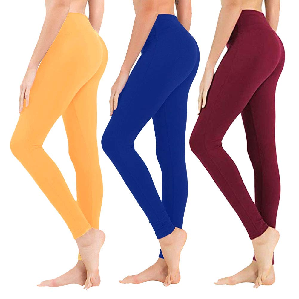 High Waisted Leggings for Women - Soft Athletic Tummy Control Pants for Running Cycling Yoga Workout - Reg & Plus Size (3 Pack Mustand, Royal Blue, Wine, Plus Size (US 12-24)) by SYRINX