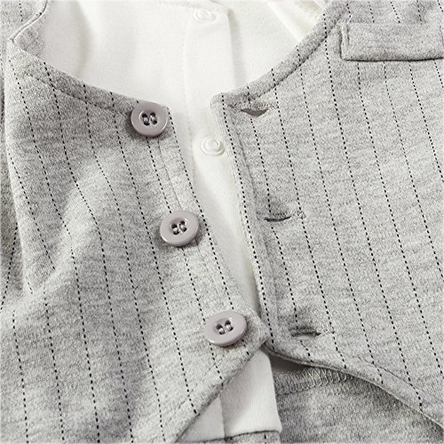 Fairy Baby Baby Boy Formal Outfit Short Sleeve Tuxedo Plaid Gentleman Suit,0-3M,Grey Stripe by Fairy Baby (Image #4)