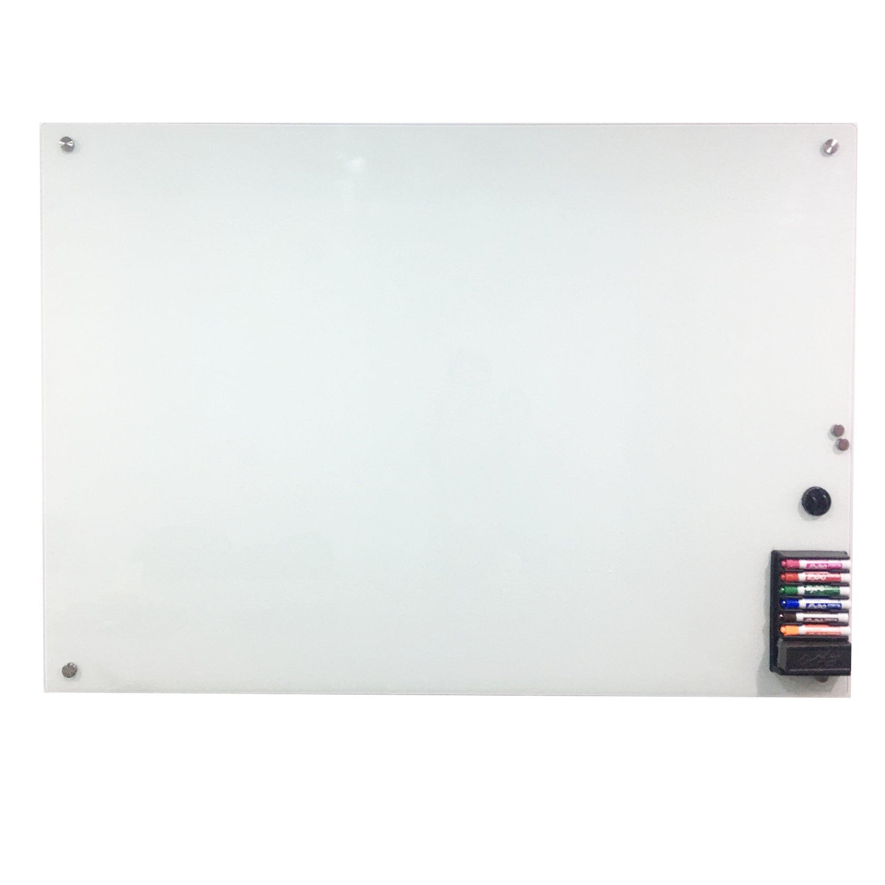 CO-Z Magnetic Glass Dry Erase Board Set , 40''x 60'', Frameless Whiteboard, Includes Board, Maker, Eraser, 2 Magnets