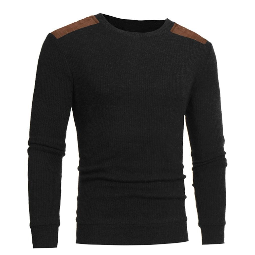 Oucan Mans Fashion Casual Round Neck Patchwork Mens Sweaters Tops Blouse