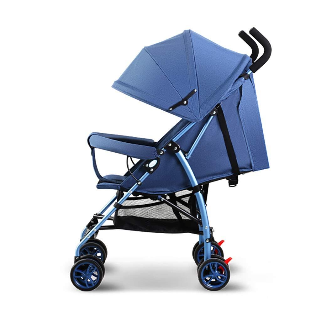 ZUOANCHEN ベビーカーベビーカーは軽くて持ち運びが簡単で、子供のシンプルなベビーカーの赤ちゃんミニ傘は、折りたたみ式、2色リクライニングを座ってすることができます (色 : 青)  青 B07QKB11J8