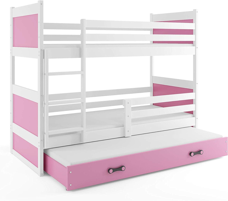 Litera triple (3 personas) RICO 200X90 , blanco - rosa , con somieres y colchones de espuma (dos- 200x90 y del cajón- 190x80) GRATIS