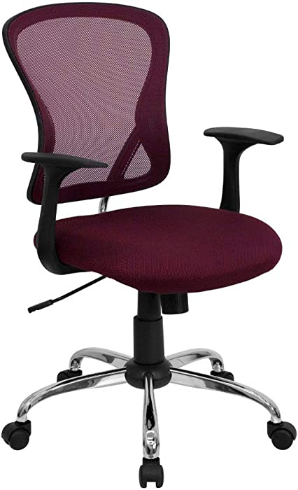 Flash Furniture Mid-Back Burgundy Mesh Swivel Task Office Chair with Chrome Base and Arms