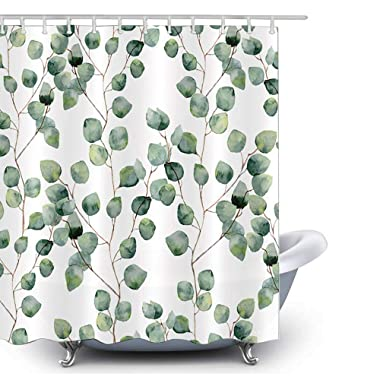 HLILOP Shower Curtain Leaf Pattern Polyester Fabric 71W X 71L Inches Green White with Hooks for Bathroom