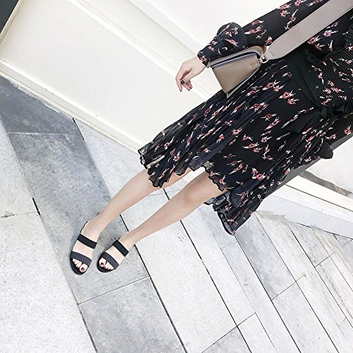 Coreana Zapatillas CN37 Grueso bajo Tacón Rojo Color de Slipper 5 EU37 Negro UK4 Versión con Abierto 5 Verano de CAICOLOR Dedo Zapatos Tamaño FnwqfgO8