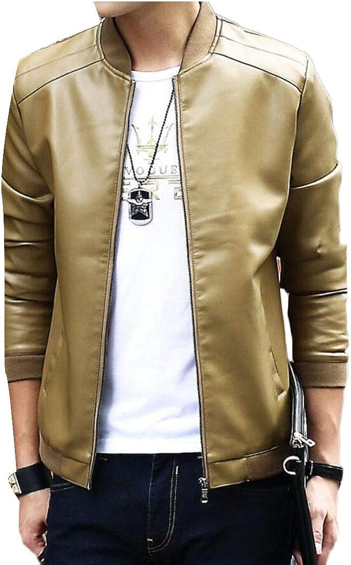 Keaac Mens Leather Jacket Stand PU Mens Faux Fur Coats Motorcycle Jacket