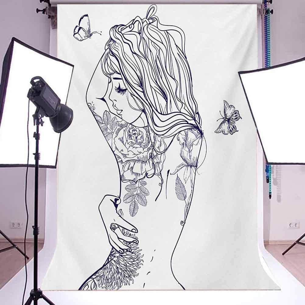 Young Girl with Tattoos Butterflies Free Your Soul Inspired Long Hair Feminine Background for Kid Baby Boy Girl Artistic Portrait Photo Shoot Studio Props Video Drape 10x15 FT Photography Backdrop