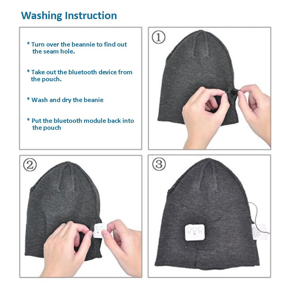 EnzoDate Bluetooth Beanie Stereo Headphone Wireless Handsfree Knit Hat Winter