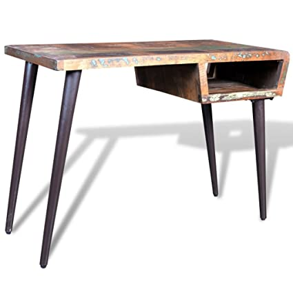 Superieur VidaXL Rustic Home Office Desk Workstation Writing Table Reclaimed Wood W/  Iron Legs