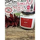 Peppermint Bark Christmas scented candle, 8 oz. hand poured soy wax glass jar candle by Drew's Candle - We support Mental Illness