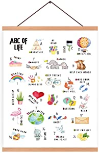 CHDITB ABD of Life Art Print Alphabet Magnetic Natural Wood Hanger Frame Poster,Canvas Inspirational Lettering Colorful Rainbow,Botanical,Animals Painting 28X45cm Wall Hanging Art for Nursery Decor