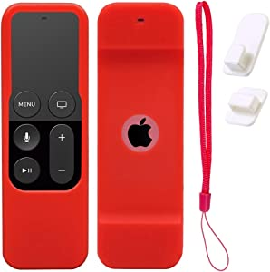 Case for Apple TV 4K/5th and 4th Gen Remote, RED Silicone Skin Protective Cover for Apple TV Siri Remote - Includes Free Wall Self Adhesive Hook Holder and Wrist Strap. by Gesoon