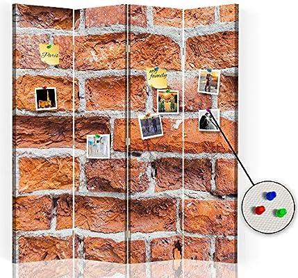 Feeby Biombo Tablero de Corcho Ladrillos Muro 4 Paneles 360 ...