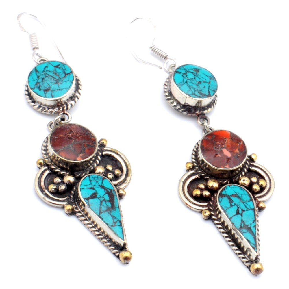 Handmade Jewelry Nepali Work Red Coral Sterling Silver Overlay Earring 3.25 Blue Turquoise
