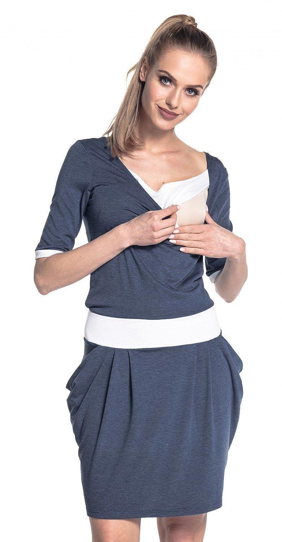 Happy Mama. Womens Breastfeeding 2in1 Dress Nursing Half Sleeves Pockets. 698p nursingdress_698