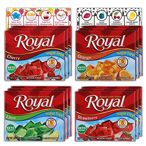 Royal Gelatin Sugar Free Variety Pack of 12 | 3 Box Each - Strawberry, Lime, Orange and Cherry | Make Low Carb Fat Free Gelatin Desserts | Bundled with Ballard Jello Shot Recipe Card