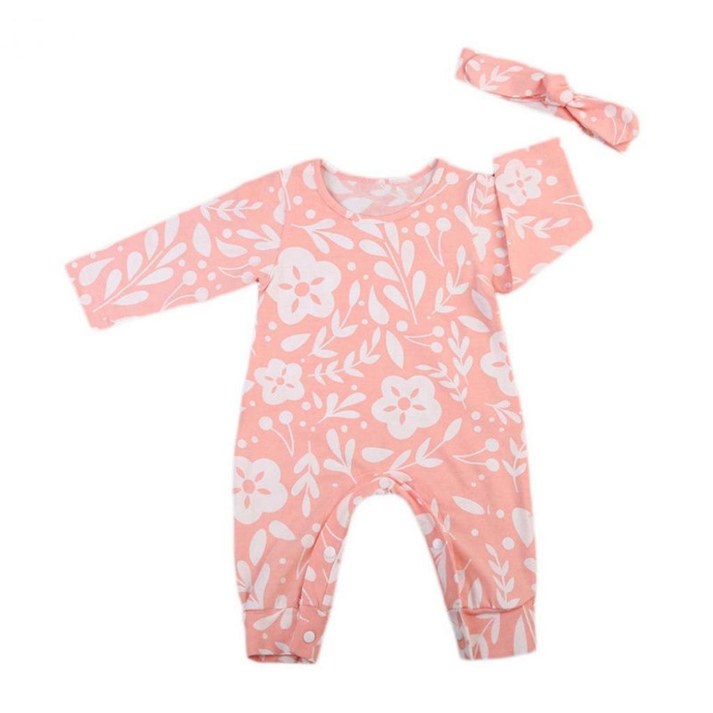Colors of Rainbow Newborn Baby Floral Romper Bodysuit Jumpsuit Headband Outfits Clothes Set