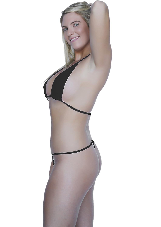 99f8a8ad92ac1 Amazon.com: SpicySpot Micro Mini Thong and String Top Bikini Set, Black:  Clothing