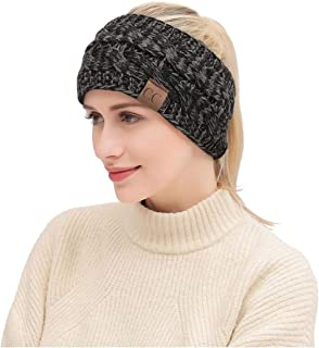 fdb806fa741 Amazon.com  Heyuni.1PC Women s Warm Cable Knitted Messy High Bun Hat ...