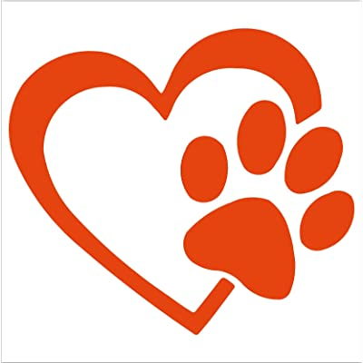 "HEART with DOG PAW Puppy Love 4"" (color: ORANGE) Vinyl Decal Window Sticker for Cars, Trucks, Windows, Walls, Laptops, and other stuff.: Automotive"