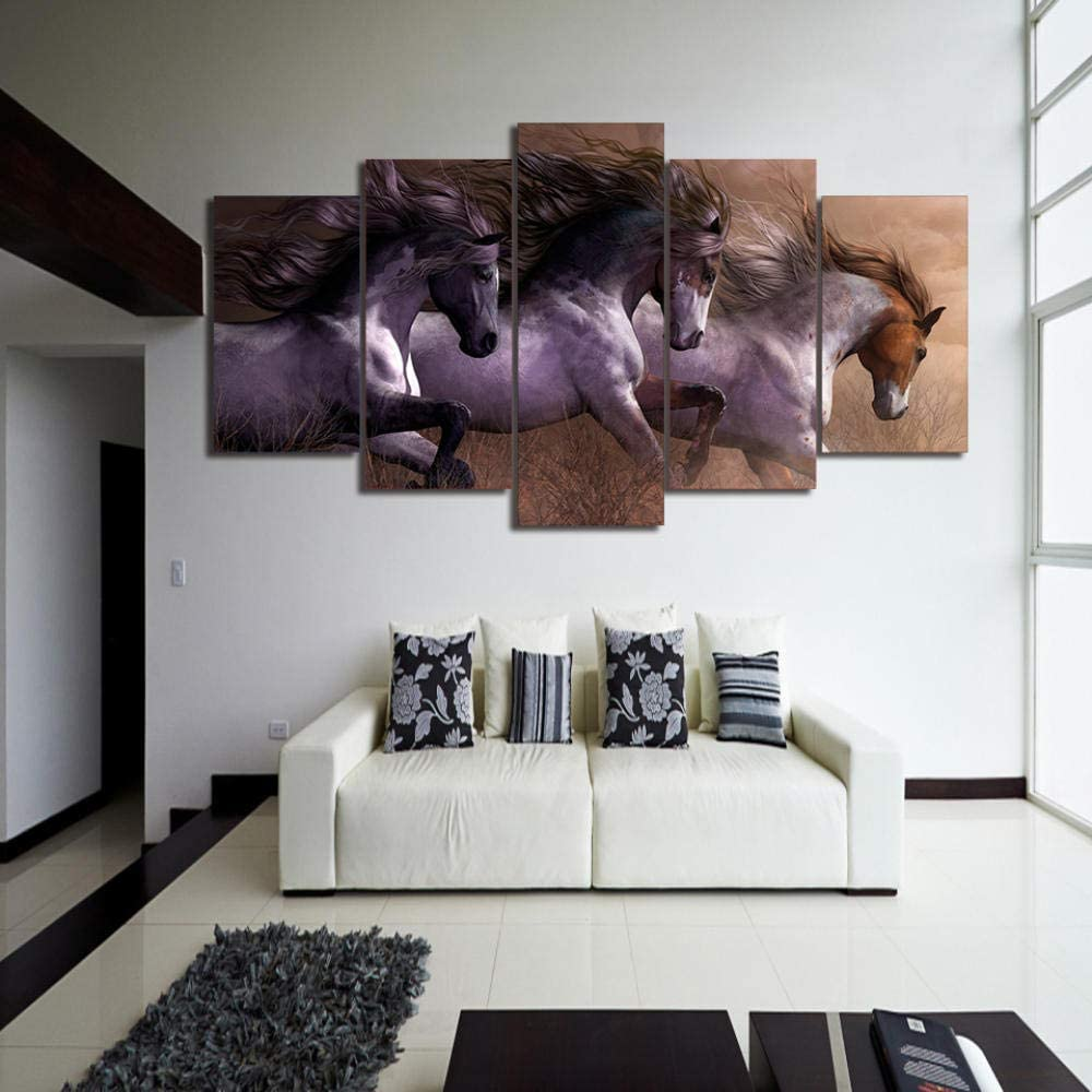 13Tdfc Cuadros Decoracion Salon Modernos 5 Piezas Lienzo Grandes XXL Murales Pared Hogar Pasillo Decor Arte Pared Abstracto Caballo Animal HD Impresión Foto 150X80Cm Innovador Regalo
