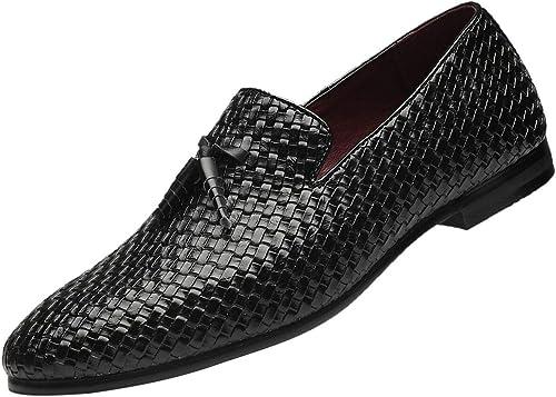 Santimon Loafers Men Fashion Weaving Dress Driving Flats Slip on Comfortable Fringe Boat Shoes Black Blue Grey