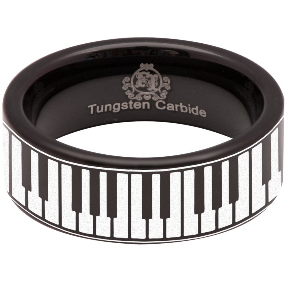 Black Tungsten Carbide Piano Keys Ring 8mm Wedding Band and Anniversary Ring for Men and Women Size 10.5