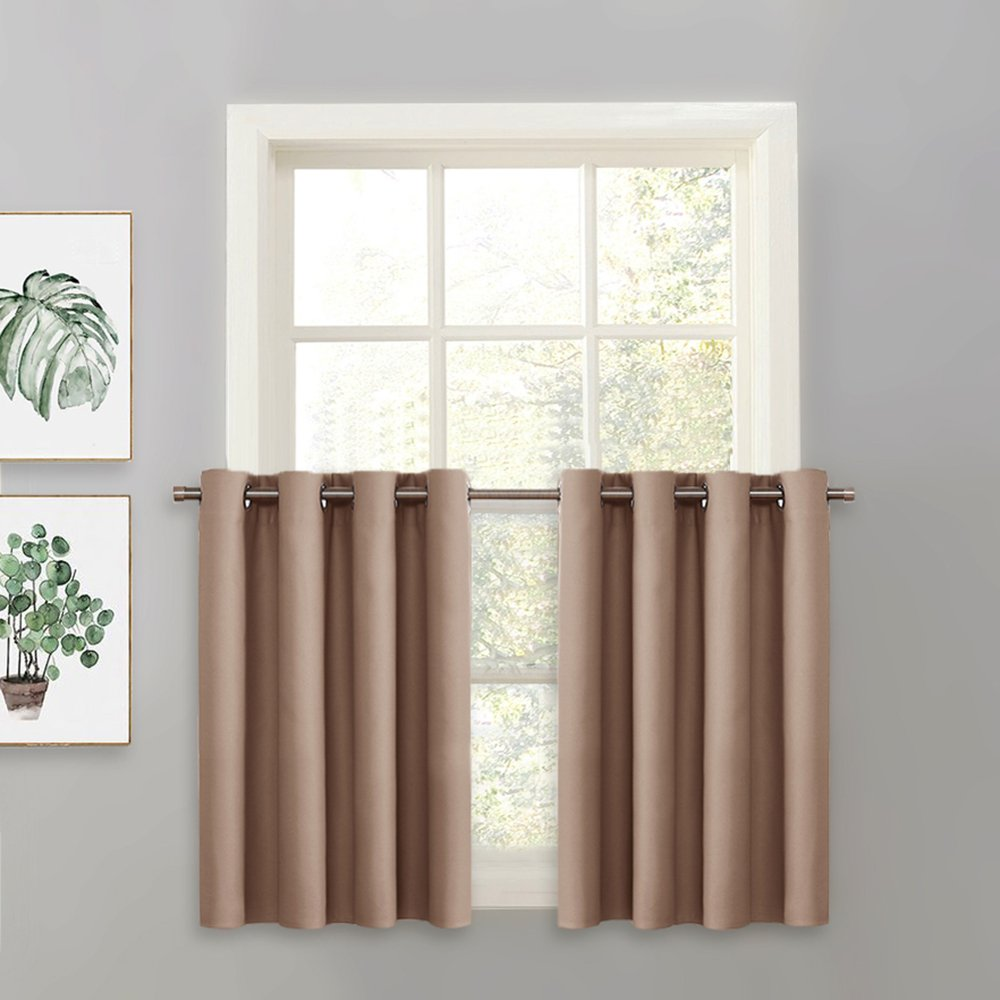 PONY DANCE Window Curtain Tier - Grommet Top Energy Efficient Blackout Drapery Home Decor Valance for Kitchen Bay Windows, 52 by 36 inches, Taupe, Single Panel