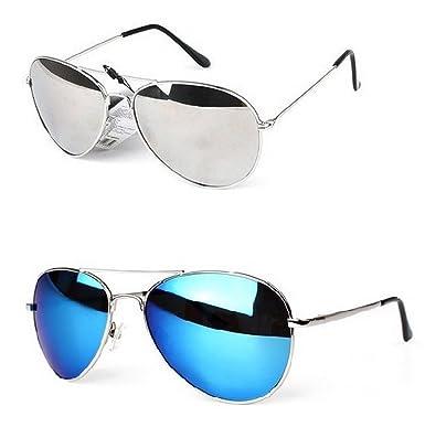 73e80d7d5cf PURECITY® - Lot de 2 paires de Lunettes de Soleil Aviateur Verres Effet  Miroir - Argent + Bleu - Monture Métal - Collection Mixte Fashion Tendance  (Miroir ...