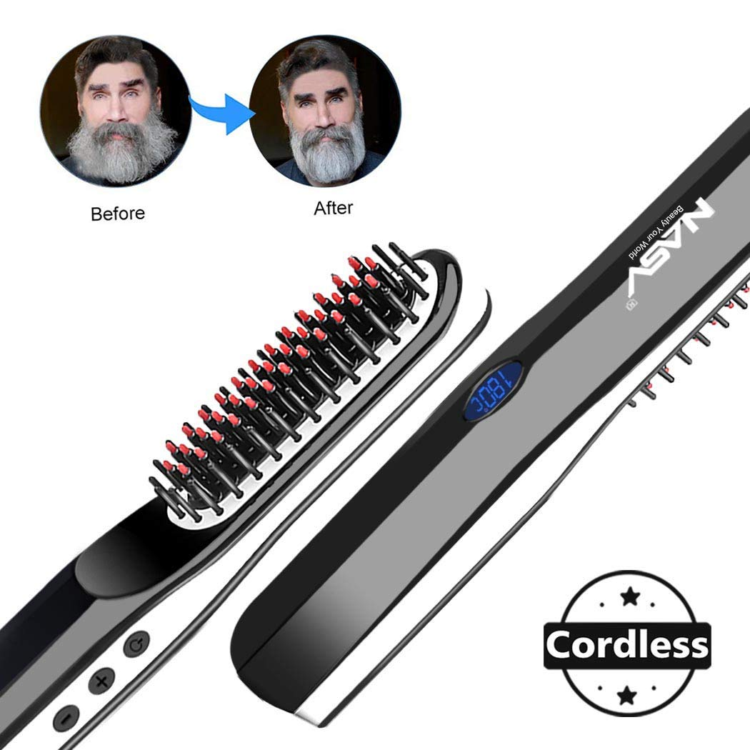 Beard Straightener Brush, Suntee Hair Straightening Brush with Cordless/Anti Scald/Auto Shut Off/Mini Sized for Travel/Home, 2 in 1 Multifunctional Hair Comb Curling Iron for Men Women by Suntee (Image #1)