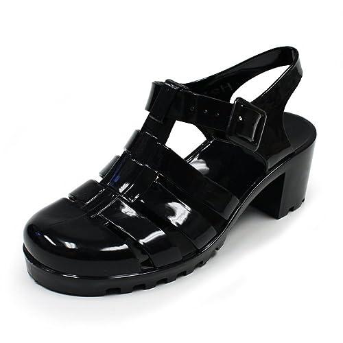 b1ad0a60798 Women s Summer Waterproof Jelly Flat Low T-Strap Gladiator Retro Sandals  Wedge Slip-On