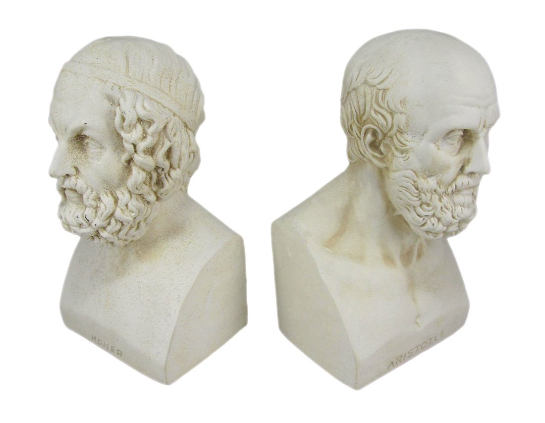 House Parts Aristotle and Homer Bust Bookends Greek Philosophy by House Parts